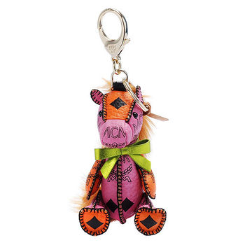 MCM 經典VISETOS小馬造型塗層帆布鑰匙圈/吊飾(粉X橘)