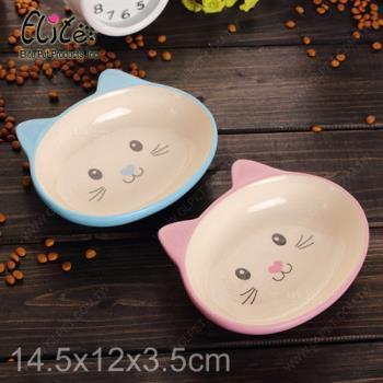 美國Elite《淺碟萌貓陶瓷寵物碗》扁臉短鼻犬貓適用