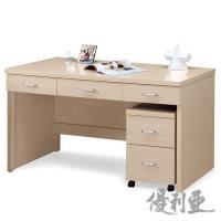 【優利亞-格斯白橡色】5尺三抽書桌+活動櫃