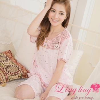 lingling日系 全尺碼-格紋日系布蕾絲滿版兔格紋短袖二件式睡衣組(甜美粉)A2894-01