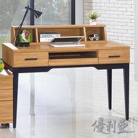 【優利亞-優植原木色】4尺電腦桌(2件組)