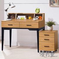 【優利亞-優植原木色】3.3尺二抽書桌+活動櫃(3件組)