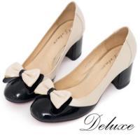 【Deluxe】全真皮撞色蝴蝶結圓頭粗跟鞋(米黑)-099-5