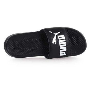 【PUMA】POPCAT 男女運動拖鞋 -游泳 戲水 黑白