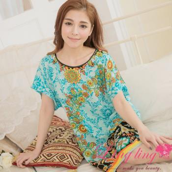 lingling日系 全尺碼-民族風繽紛花樣圖騰綁帶短袖洋裝睡衣(氣質藍)A2841-01
