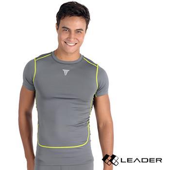 LEADER Full-Power H88 壓縮運動緊身衣 短袖 男款 暗灰M-XL