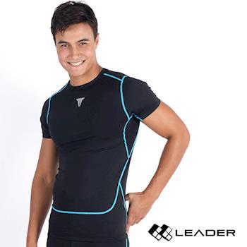 LEADER Full-Power H88 壓縮運動緊身衣 短袖 男款 黑色M-XL