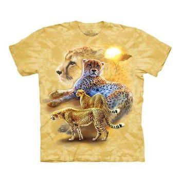 【摩達客】(預購)美國進口The Mountain  日落獵豹 純棉環保短袖T恤