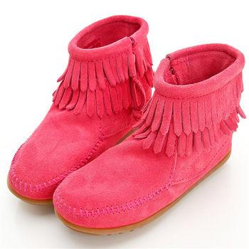 MINNETONKA 雙層流蘇麂皮粉紅色短靴 童鞋
