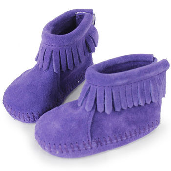 MINNETONKA 紫色後貼式麂皮莫卡辛 嬰兒短靴