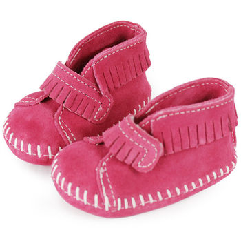 MINNETONKA 粉紅色一體成形流蘇麂皮莫卡辛 嬰兒鞋