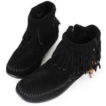 MINNETONKA 黑色麂皮羽毛流蘇莫卡辛 女短靴-520