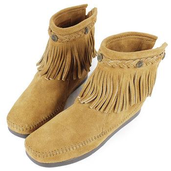 MINNETONKA 沙棕色麂皮後拉鍊流蘇莫卡辛短靴 女鞋-297T