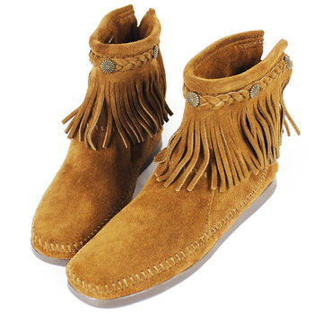 MINNETONKA 棕色麂皮後拉鍊流蘇莫卡辛短靴 女鞋-293