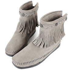 MINNETONKA 灰色麂皮後拉鍊流蘇莫卡辛短靴 女鞋-291T