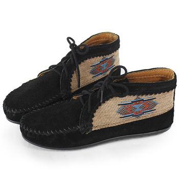MINNETONKA 黑色麂皮刺繡莫卡辛 女短靴-570