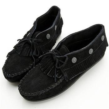MINNETONKA 個性黑色麂皮流蘇鉚釘短靴 女鞋-530