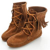 MINNETONKA 深棕色麂皮單層流蘇 中筒靴 經典必備-428
