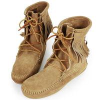 MINNETONKA 沙棕色麂皮單層流蘇 中筒靴 經典必備-427T