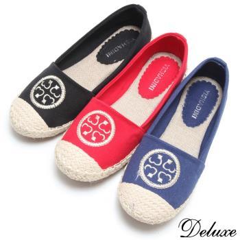 【Deluxe】圓圖騰帆布籐底收邊平底休閒鞋(黑/紅/藍)-668-93