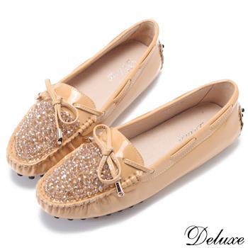 【Deluxe】全真皮亮彩粉晶蝴蝶結莫卡辛豆豆鞋(米)