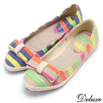 【Deluxe】經典海軍風帆布條紋平底鞋(藍/米)-843-33