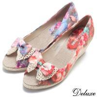 【Deluxe】春日印花蝴蝶結魚口楔型鞋(紅印花★藍印花)-D208-1