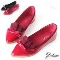 【Deluxe】漆皮小尖頭絨布波浪平底包鞋(黑/紅)-A03-1