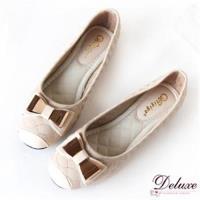 【Deluxe】曲線紋金屬蝴蝶結加厚軟墊平底包鞋(米)