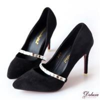 【Deluxe】絨布小尖頭細高跟包鞋(黑)-A12-4