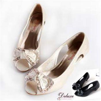 【Deluxe】素雅蝴蝶結水晶串珠魚口低跟鞋(黑)-H1060-19