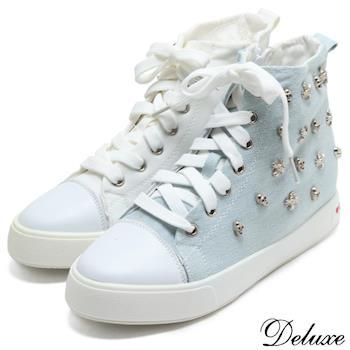 Deluxe-街頭嘻哈風骷髏鉚釘高筒厚底內增高帆布鞋-藍-白