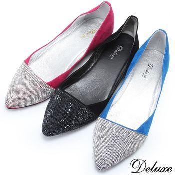 【Deluxe】頂級施華洛世奇水鑽小尖頭平底鞋(藍)-318-A