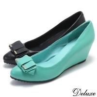 【Deluxe】全真皮清新楔型增高鞋小尖頭高跟鞋(膚/綠)-48-3