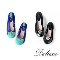 【Deluxe】燙鑽皇冠小女王包頭娃娃軟Q鞋(藍色/黑色)-0958-213B