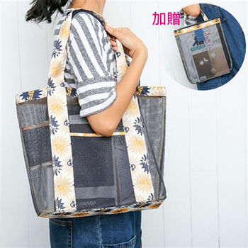 【Bunny】加厚網袋1+1休閒購物健身手提包