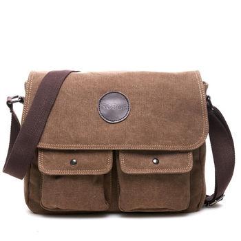 MAKSIM 韓版簡約大口袋側背帆布包(6657)