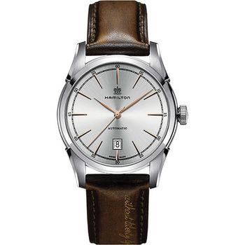 Hamilton CLASSIC 紳士大三針機械腕錶-銀x棕/42mm H42415551