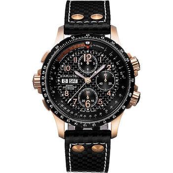 Hamilton KHAKI AVIATION 碳纖維元素機械腕錶-黑/44mm H77696793