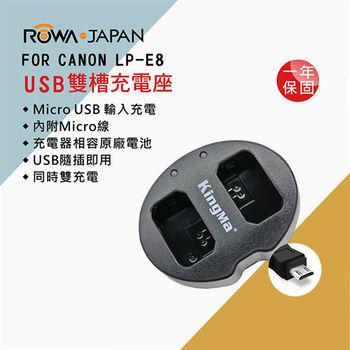 ROWA 樂華 FOR CANON LP-E8 LPE8 電池雙槽充電器 原廠電池可用 全新 保固一年 雙充 一次兩顆