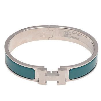 HERMES 愛馬仕 Clic H LOGO琺瑯細版手環(GM-藍綠X銀)