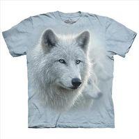 【摩達客】(預購)美國進口The Mountain 極地雪白狼 純棉環保短袖T恤