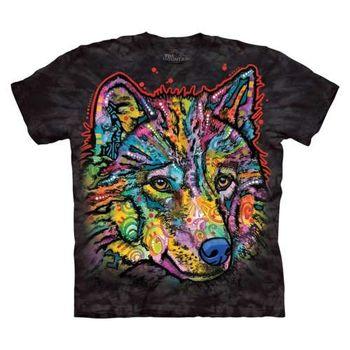【摩達客】(預購)美國進口The Mountain 彩繪快樂狼 純棉環保短袖T恤