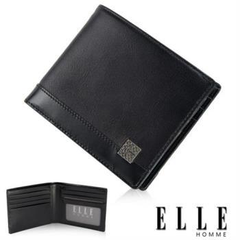 【ELLE HOMME】法式精品短夾 單層 鈔票多層/證件/名片格層設計(黑 EL81782-02)