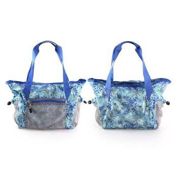 【MIZUNO】女用側肩袋-可收納-美津濃 側背包 斜背包 旅行袋 行李包 湖水綠藍