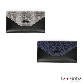 La Moda 設計感滿點~頭層真牛皮蛇紋壓紋薄型長夾 (共2色)