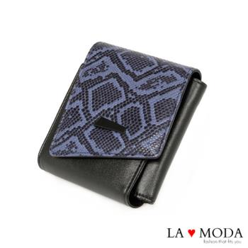 La Moda 經典質感~頭層真牛皮蛇紋壓紋薄型摺疊短夾