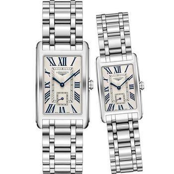 LONGINES DolceVita 獨立小秒針石英對錶-銀/26+21mm L57554716+L52554716