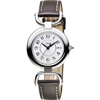 LONGINES 騎仕系列優雅石英女錶-銀x咖啡/30mm L61314732