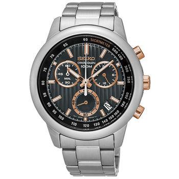 SEIKO 精工 帥氣三眼計時鋼帶錶-黑/玫瑰金指針/43mm SSB215P1/8T68-00A0P